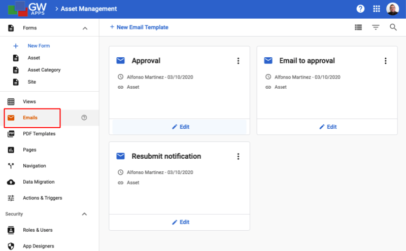 Email Template Dashboard