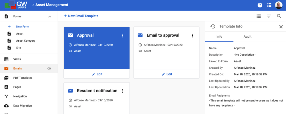Email Template Dashboard Cont.