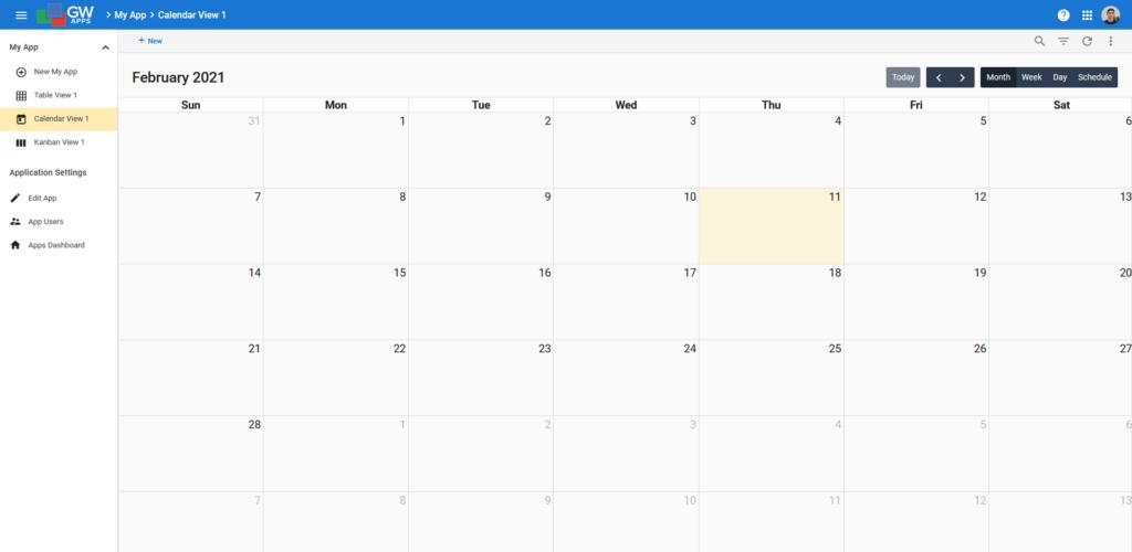 Calendar View Example